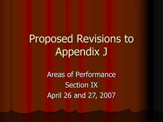 Proposed Revisions to Appendix J