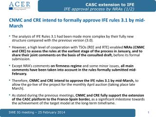 CNMC and CRE intend to formally approve IFE rules 3.1 by mid-March