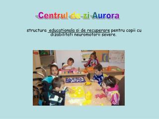 structura   educationala si de recuperare  pentru copii cu dizabilitati neuromotorii severe.