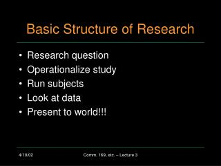 Basic Structure of Research