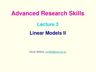 Lecture 3  Linear Models II