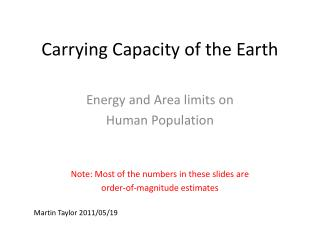 Carrying Capacity of the Earth
