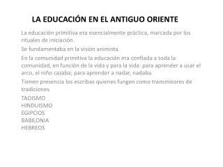 LA EDUCACI N EN EL ANTIGUO ORIENTE