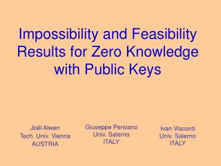 Impossibility and Feasibility Results for Zero Knowledge with Public Keys