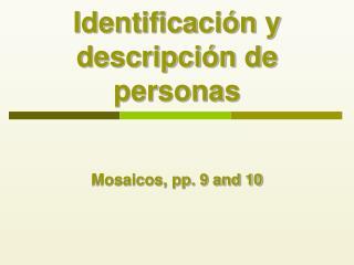 Identificaci n y descripci n de personas