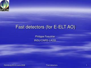 Fast detectors (for E-ELT AO)