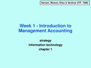 Week 1 - Introduction to Management Accounting