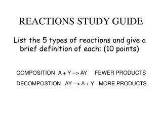 REACTIONS STUDY GUIDE