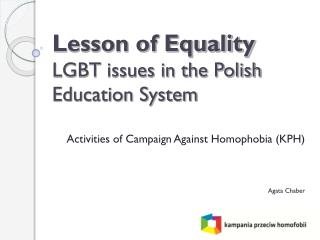 Lesson of Equality LGBT issues in the Polish Education System
