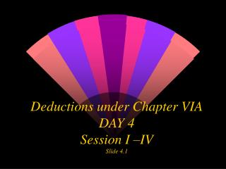 Deductions under Chapter VIA DAY 4 Session I –IV Slide 4.1
