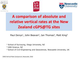 A comparison of absolute and relative vertical rates at the New Zealand cGPS@TG sites