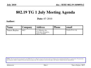 802.19 TG 1 July Meeting Agenda