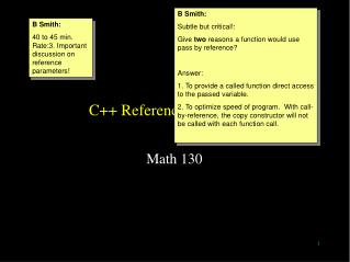 C++ Reference Parameters