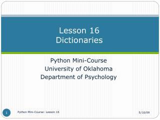 Lesson 16 Dictionaries