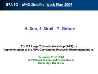 ITPA TG – MHD Stability:  Work Plan 2009