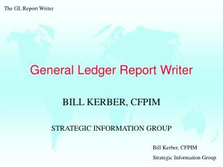 General Ledger Report Writer
