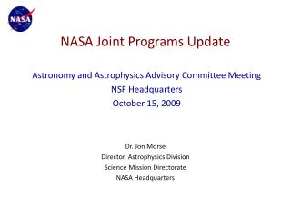 NASA Joint Programs Update
