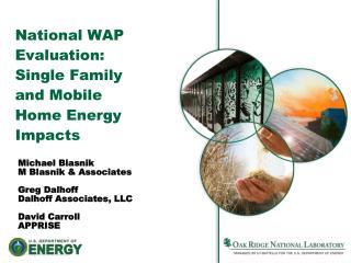 National WAP Evaluation: Single Family and Mobile Home Energy Impacts