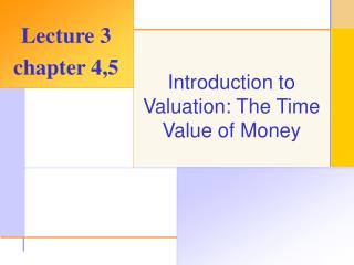 Introduction to Valuation: The Time Value of Money