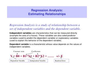 Regression Analysis:  Estimating Relationships