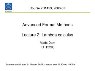 Advanced Formal Methods Lecture 2: Lambda calculus