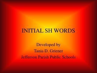 INITIAL SH WORDS