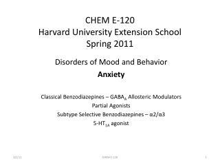CHEM E-120 Harvard University Extension School Spring 2011