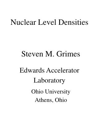Nuclear Level Densities