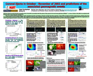 Coronal Ejecta in October - November of 2003 and predictions of the associated geomagnetic events