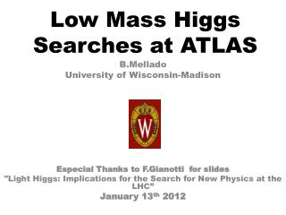 Low Mass Higgs Searches at ATLAS