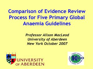 Comparison of Evidence Review Process for Five Primary Global Anaemia Guidelines