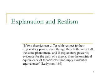 Explanation and Realism