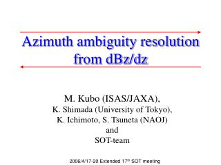 Azimuth ambiguity resolution  from dBz/dz