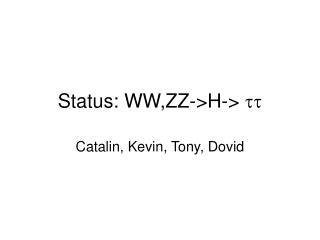 Status: WW,ZZ->H->  