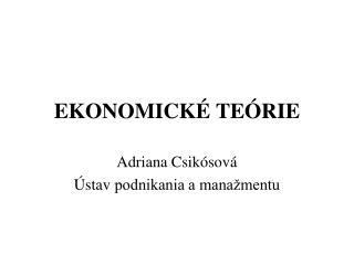 EKONOMICK  TE RIE