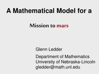 A Mathematical Model for a Mission to  mars
