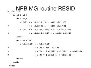 NPB MG routine RESID