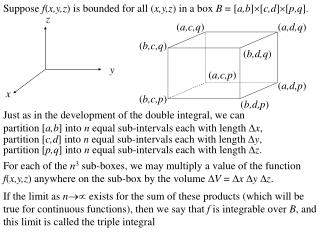 Suppose  f ( x,y,z ) is bounded f or all ( x,y,z ) in a box  B  = [ a,b ][ c,d ][ p,q ].