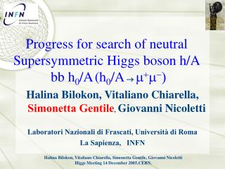 Progress for search of neutral Supersymmetric Higgs boson h/A  bb h 0 /A (h 0 /A  m + m - )