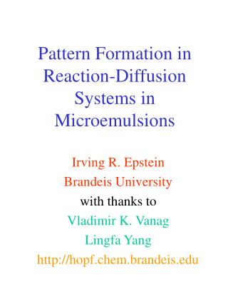 Pattern Formation in Reaction-Diffusion Systems in Microemulsions