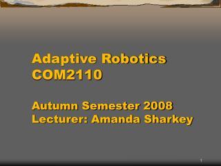 Adaptive Robotics COM2110  Autumn Semester 2008 Lecturer: Amanda Sharkey