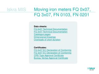Moving iron meters FQ 0x07,  FQ 3x07, FN 0103, FN 0201