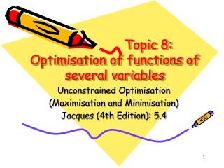 Topic 8:  Optimisation of functions of several variables