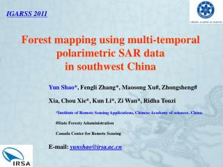 Forest mapping using multi-temporal polarimetric SAR data  in southwest China