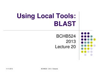 Using Local Tools: BLAST