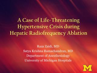 A Case of Life-Threatening Hypertensive Crisis during Hepatic Radiofrequency Ablation