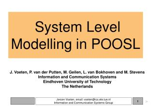 System Level Modelling in POOSL