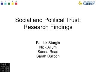 Social and Political Trust: Research Findings