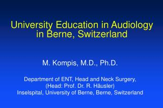 University Education in Audiology in Berne, Switzerland