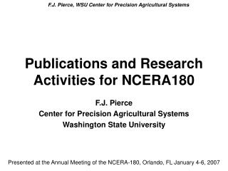 Publications and Research Activities for NCERA180